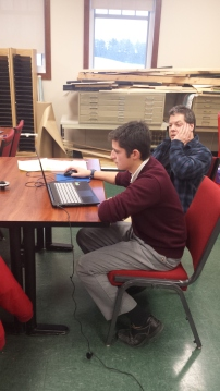 Andrew and mentor Paul Medina working CAD